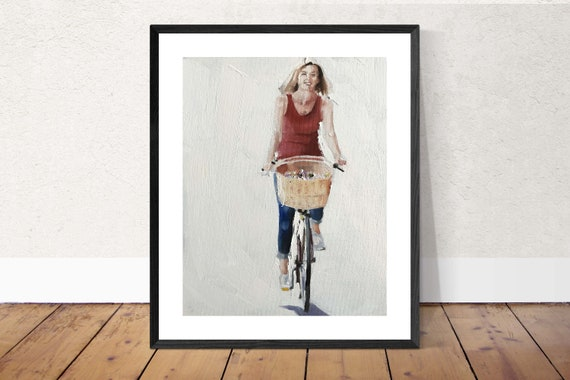 Woman Cycling Painting Woman on Bicycle Art PRINT - Art Print - from original painting by J Coates