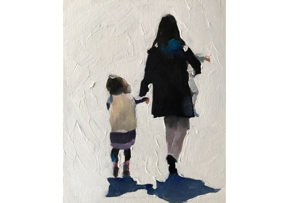Mother and Daughter Painting Mother Art Mother PRINT - Art Print - from original painting by J Coates
