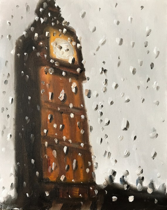 London Big Ben Painting London Art London PRINT London in the Rain - Art Print - from original painting by J Coates