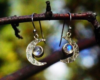 Moonstone Crescent Moon Earrings