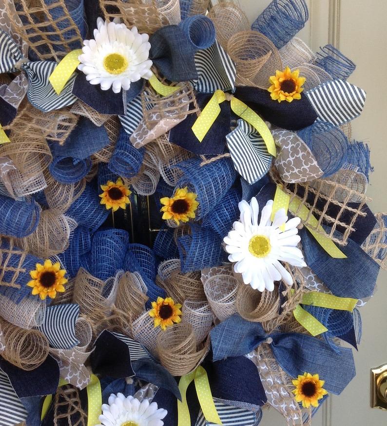 sunflower deco mesh wreath sunflower wreath Farmhouse Decor country fall wreath summer burlap wreath Spring wreath Farmhouse wreath