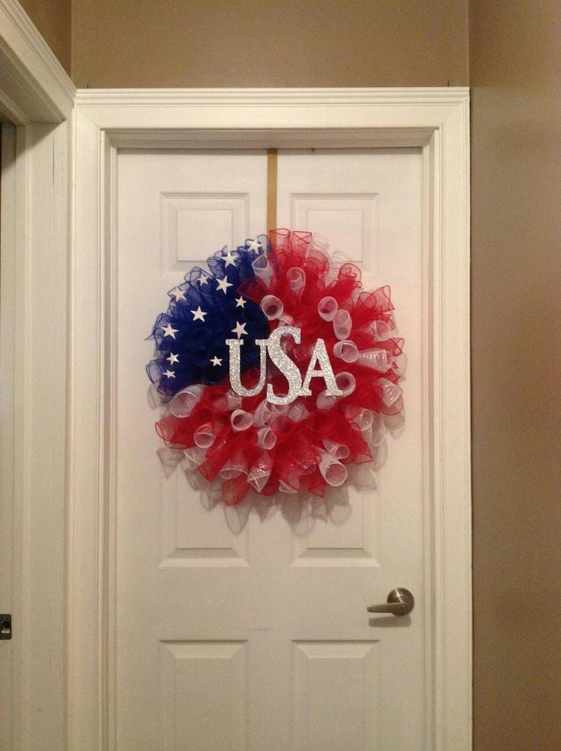 Patriotic wreath 4th of July wreath summer deco mesh wreath blue patriotic deco mesh red Labor Day wreath white Memorial Day wreath
