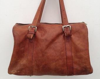 Weekender bag   Vintage   1970s   Luggage/big handbag   Leather   Brown   Travel bag   Retro