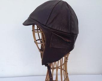 Pilot Helmet Cap   Vintage   1940s   Leather   Brown   Motorcycle   Aviator cap   Steampunk