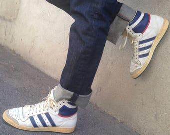 Adidas Top Ten | Vintage | 1980s | Sneakers | Hi Top | Leather | Eu 41 1/3 | Uk 7 1/2 | Collector | Original