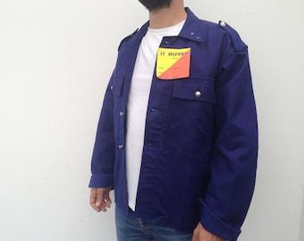 Le Mecano | Vintage | 1960s | French workwear | Blue work jacket | Indigo | Sanforized | Deadstock | Size EU 50