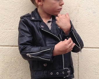 c86d3f0b Child Motorcycle jacket | Vintage | 1970s | Leather jacket | Black | Classic  fit | 6 years