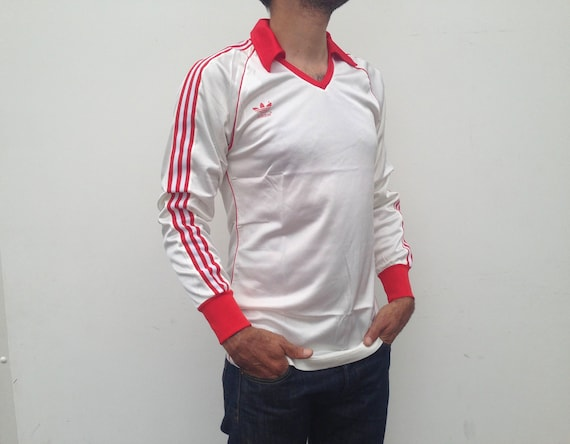 Adidas Vintage 1970s Soccer Jersey White Red Stripes   Etsy