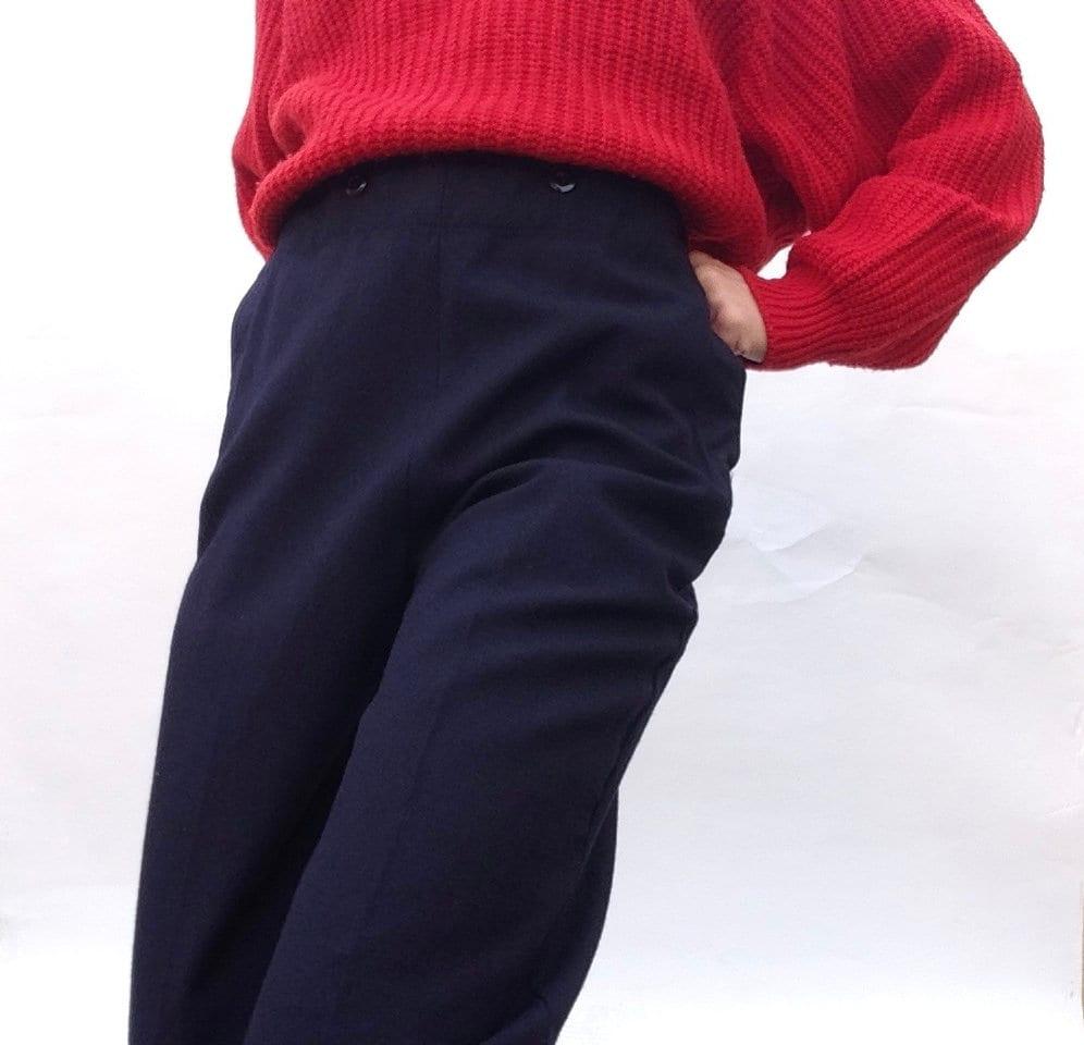 Pantalon marin   Vintage   1970s   Marine française   Laine Boutonnée    Laine     e41f6a22a752