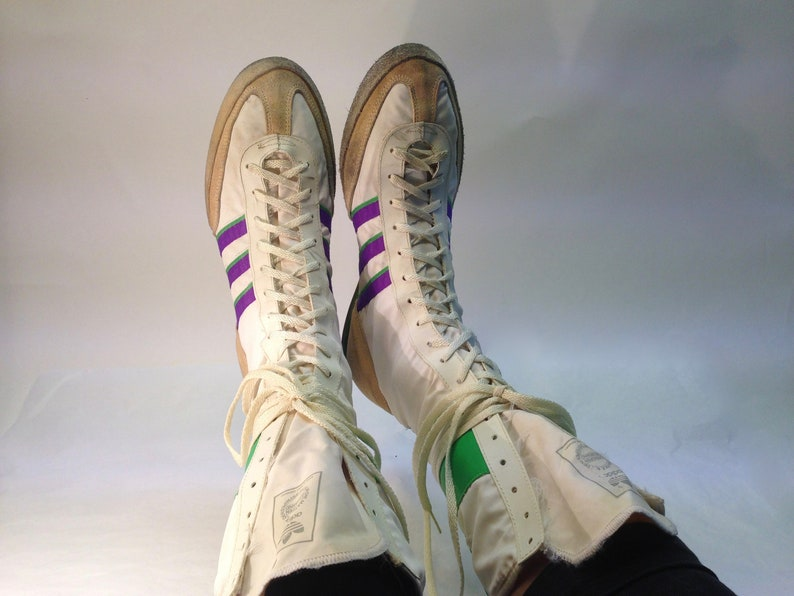 JabVintage 42 8 Us Adidas 9 Leathercanvas Eu 1980s Boots 5 Whitegreenpurple Boxing High Tops Original Uk TFKl1J3c