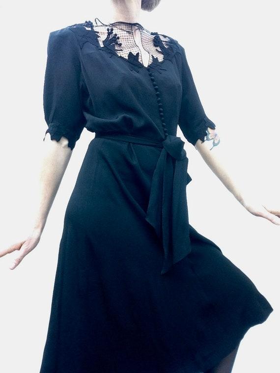 Antic lace dress | Vintage | 1930s/40s | Black | S