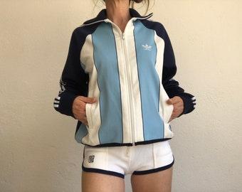 Adidas | Vintage | 1970/80s | Track jacket | Vertical Stripes | Ventex | Sport jacket | Blue/White | Size 174 | Collector | Rare