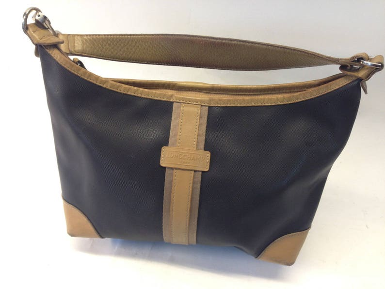 Longchamp Vintage 1990s Handbag Leather Vinyl canvas  8815d44666ce9
