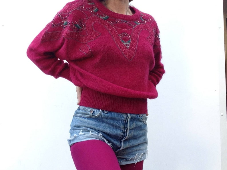 Escada | Vintage | 1980s | Sweater | Mohair knit | Pink | Embroidry | Beads  | Bat wing sleeves