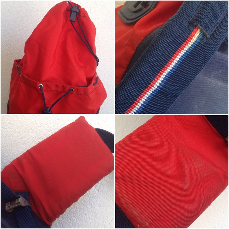 Redblue Vintage French backpack 1970s Hiking bag Millet Big size