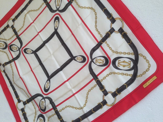 Cartier | Vintage | 1980s | Scarf | Silk | Red/Whi