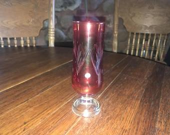 Vintage Cranberry Cut Glass Vase