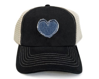 7a1aeab95ee Trucker Hat For Women Vintage Baseball Cap Black Distressed Retro Patch  Frayed Denim Heart Baseball Hats Trucker Cap Womens Baseball Caps