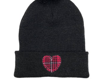 Embroidered Hat Pom Pom Beanie Red Plaid Heart Appliqué Dark Gray  Embroidered Beanie Heart Gifts Love Gifts Women s Winter Hat 6553c0e1e3fa