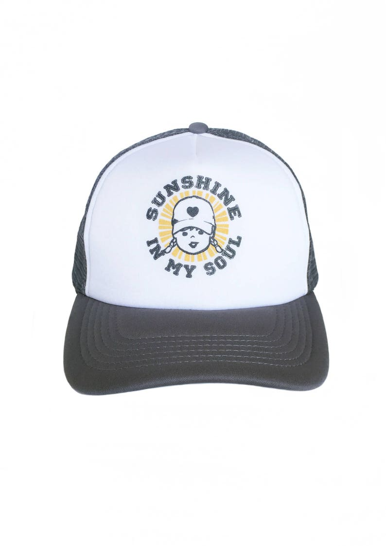 Retro Trucker Hat For Women Sunshine In My Soul Zen Quote image 0