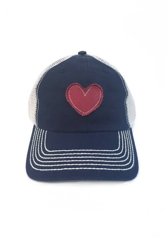 Womens Baseball Hat Heart Patch Vintage Trucker Hat For Women  2e0850f125