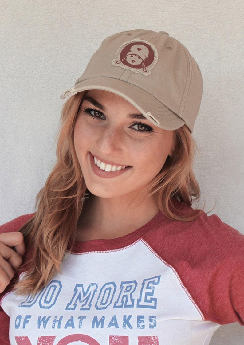 Womens Baseball Cap Sun Hat Tomboy Patch Frayed Applique Khaki  e384d20f9821