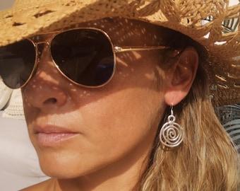 statement dangle hoop earrings, sterling silver earring hoops, bohemian drop earrings