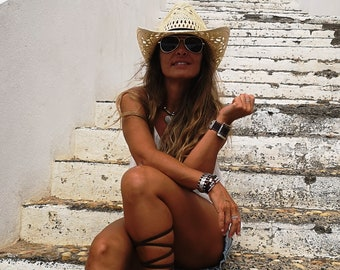 Boho cowboy hats for women, bohemian cowgirl straw hat, stetson western hats, kekugi