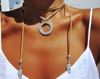 wrap necklace, ring necklace, Boho jewelry, bohemian jewelry, hippy jewelry, bohemian necklaces, boho necklaces, minimalist jewelry