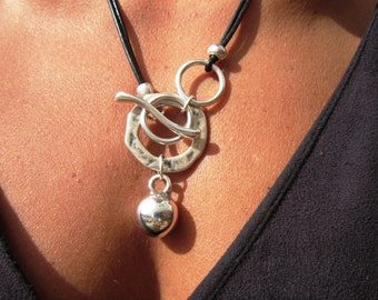 Long silver statement necklace for women