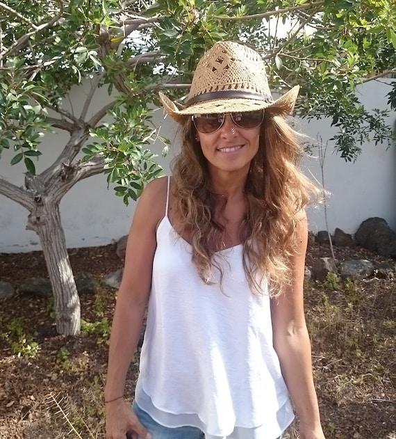 0389769e boho hat bohemian hat straw cowboy hats cowboy hats hats | Etsy