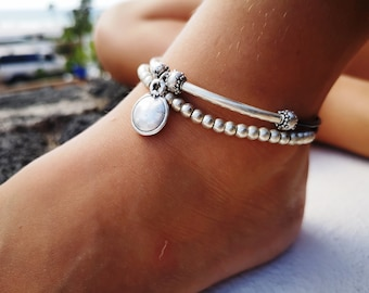 delicate disk anklet, bohemian style anklet, layered anklet, bohemian anklet, beach anklet, silver anklet for women, boho anklets for women