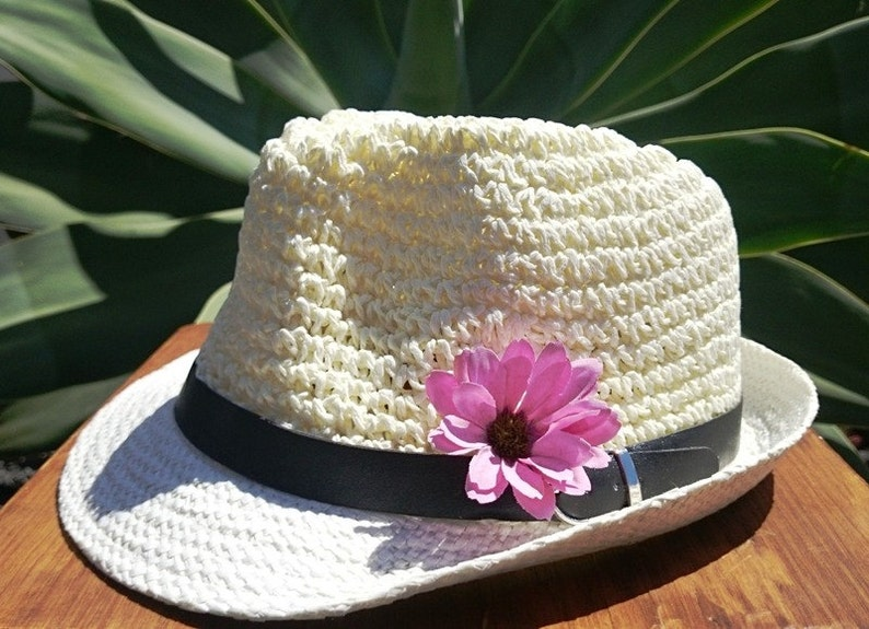 62faeee2fb9e0c Fedora hat hats for women Straw hat sun hats ivory hat | Etsy