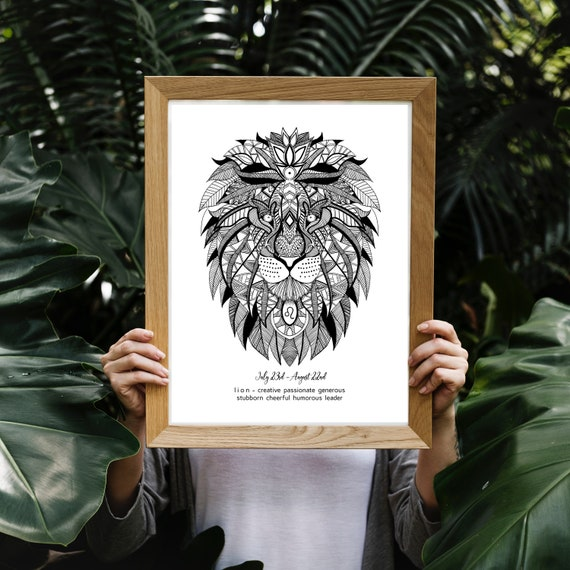 Black and White Leo Lion Art Print, Star Sign Birthday Gift, Lion  Illustration, Zodiac Gift, Black and White Decor, Tribal Art Line Drawing