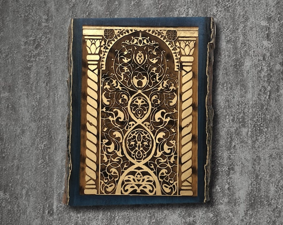 The Arabesque® Medieval Indian Art Wooden Wall Hanging Featuring Arabesques from the 15th Century Gujarati City of Champaner