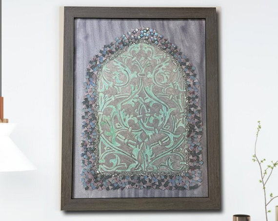 """The Arabesque® Large 18"""" x 24"""" Medieval Arabesque Window Painting With Mamluk Architectural Window Arabesque Pattern Painting and Mosaics"""