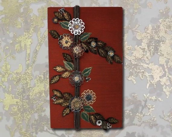 """The Arabesque® Wooden Home Decor Red Silk Floral Rustic Wall Hanging with Tree of Life Artwork (14 """" x 20"""") Wall Art; Silk Flowers;"""
