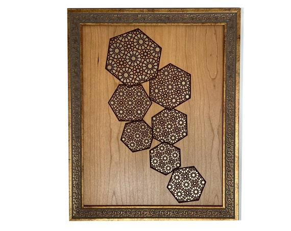 The Arabesque® Medieval Islamic Geometric Wall Art Featuring Engraved Abstract Islamic Geometric Arabesque Pattern & Modern Design Aesthetic