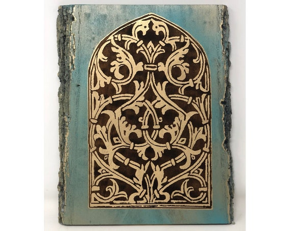 The Arabesque® Medieval Arabesque Engraved Wooden Window Wall Hanging With Mamluk Inspired Architecture; Artwork Remade from Medieval