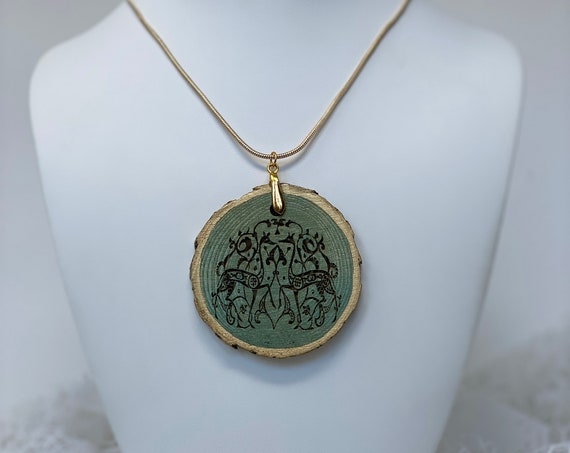 """The Arabesque® Engraved Medieval Alhambra Gazelle Arabesque Pendant on Natural Wood with  14k Gold Plated (Zinc-Alloy) 30"""" Snake Chain"""