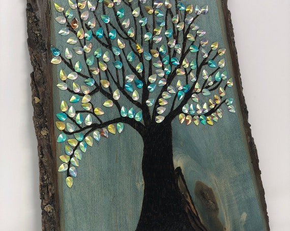"""The Arabesque® Wooden Home Decor Wall Hanging with Woodburned Tree of Life Art 8 """" x 13 """""""