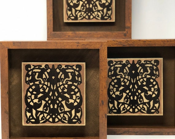 """The Arabesque® Brown, Navy Blue, and Gold 10"""" x 10""""  Shadow Box Frame With Engraved and Handpainted  Medieval Mamluk Wooden Arabesque Plaque"""