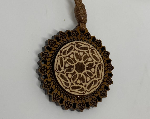 """The Arabesque® Wooden Engraved Pendant with Adjustable 18"""" Leather Cord Necklace with a Love in Arabic Calligraphy Roundel"""