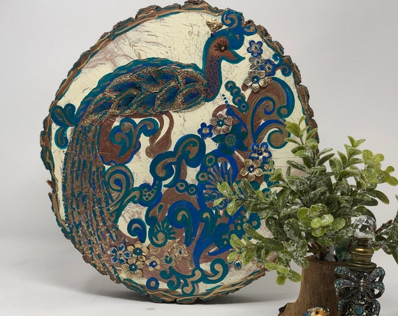 The Arabesque® Majestic Royal Peacock Wooden Handmade, Handpainted, and Uniquely Designed Home Decor Plaque