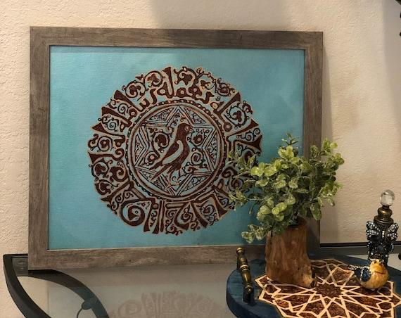 The Arabesque® Good Luck Joy Bird Wall Hanging Artwork: 12th Century Bird Arabesque Motif With Good Luck Phrases in Kufic Calligraphy Border