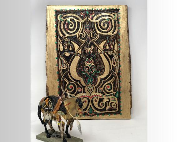 The Arabesque® Wooden Wall Art - Medieval Fatimid Horse Arabesque Design; Medieval Islamic Art;