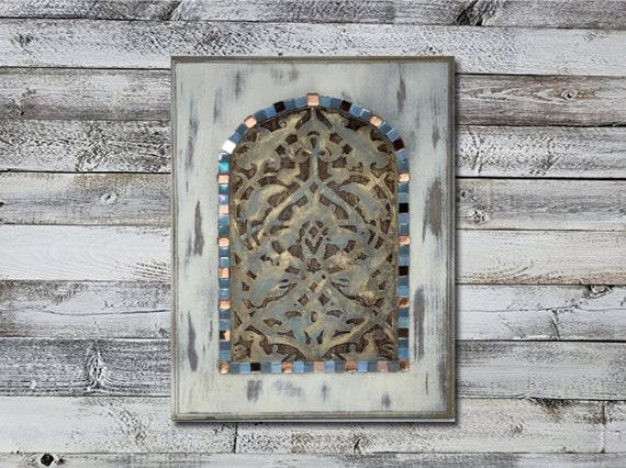 The Arabesque® 11 x 14 inch Wooden Wall Art - al-Anwar Mosque Hand-painted and Laser-etched Rustic Arabesque Window Pattern Engraving
