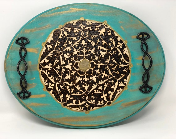 """Handmade and Handcrafted 11 x 14"""" Oval Wooden Decorative Tray With A Medieval Samanid Floral Arabesque Design For Coffee Table Or Ottoman"""