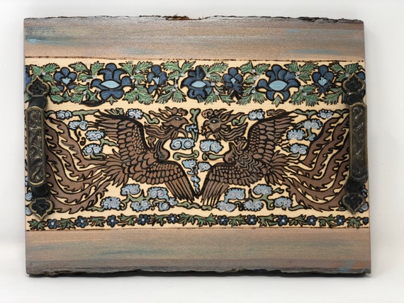 The Arabesque® Handcrafted Decorative Coffee Table or Ottoman Tray with Woodburned and Painted Medieval Ilkhanid Phoenix Pattern