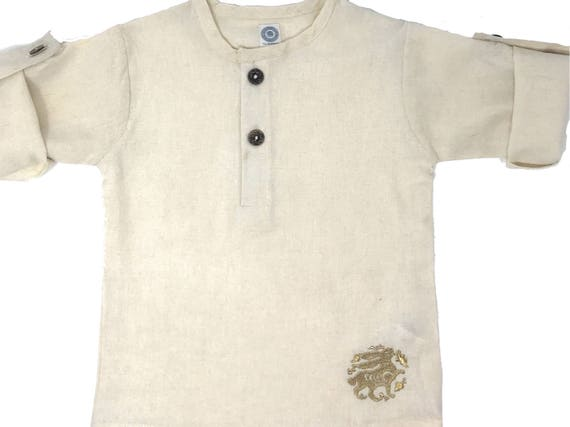 Cream Linen Children's Unisex Girls and Boys Button-up Tunic With Medieval Style Gold Embroidered Bunny Formal/Casual Perfect For Summer!